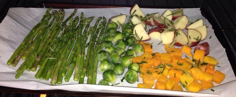 roasted veggies on pan