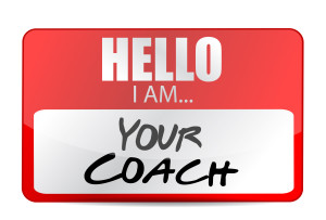 hello I am your coach tag illustration design over white